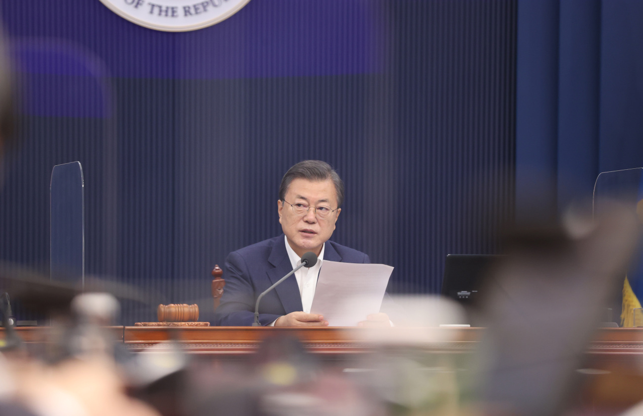 President Moon Jae-in speaks during his first Cabinet meeting this year at Cheong Wa Dae on Tuesday. (Yonhap)
