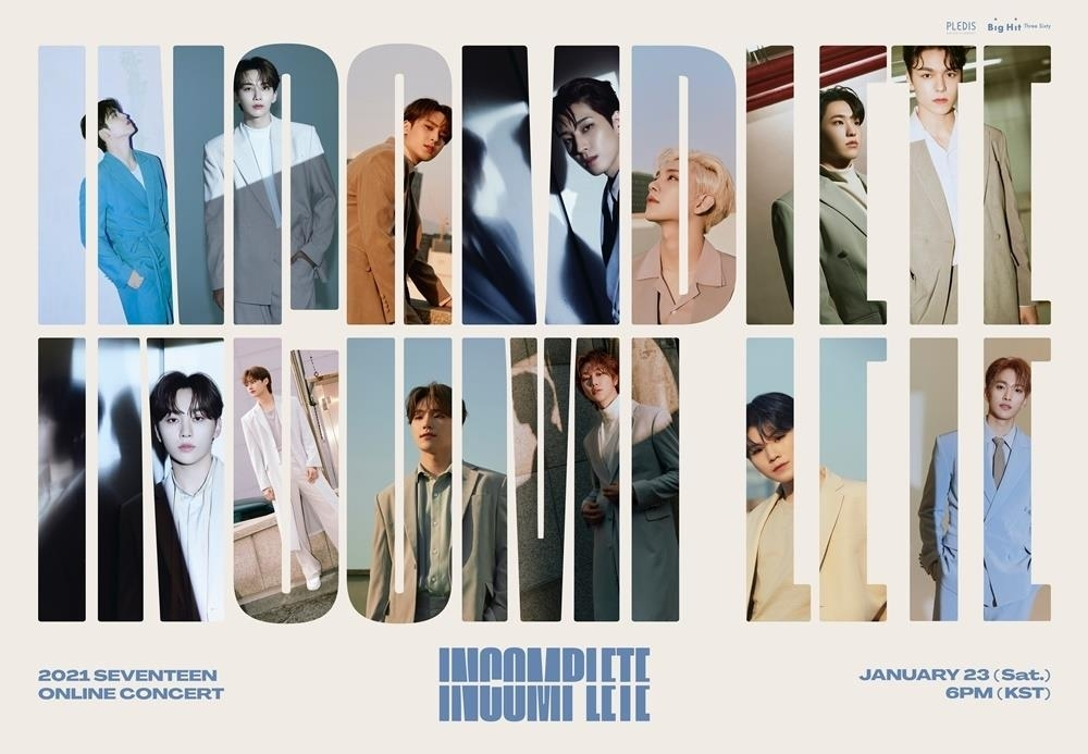 This image, provided by Pledis Entertainment, shows the poster for K-pop boy group Seventeen's online concert to be held on Jan. 23, 2021. (Pledis Entertainment)