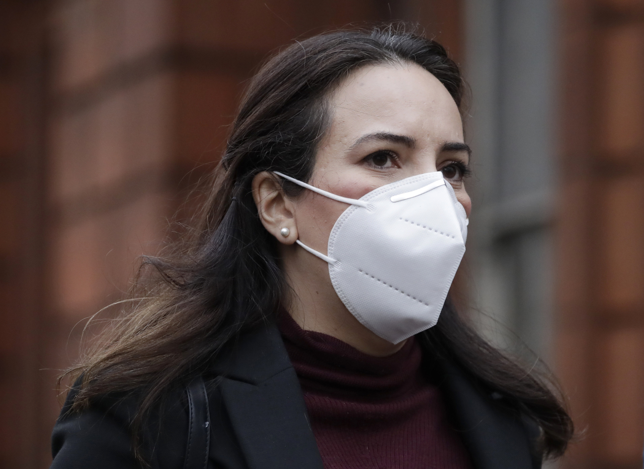 Stella Moris girlfriend of Julian Assange walks towards Westminster Magistrates Court for his Bail hearing in London, Wednesday. (AP-Yonhap)
