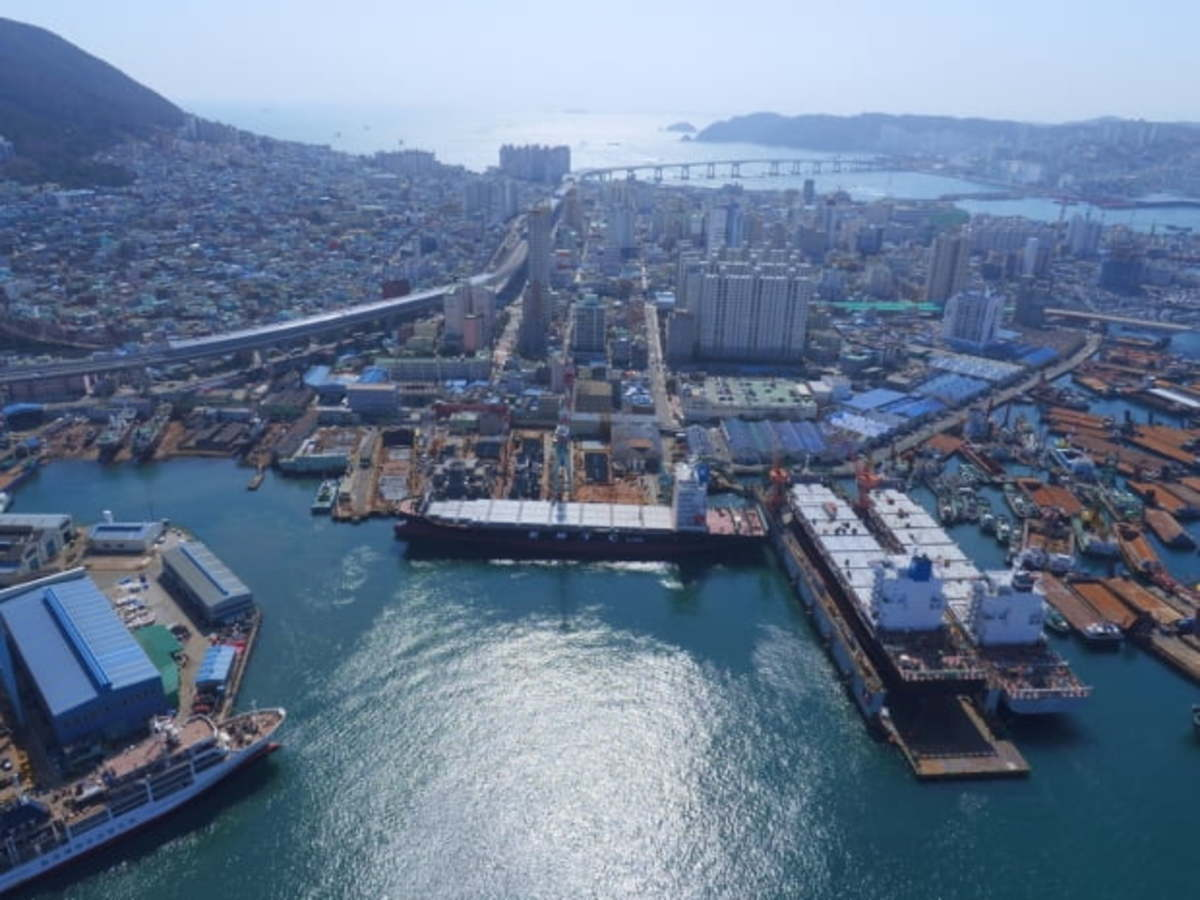 This photo, provided by Daesun Shipbuilding Engineering Co. on Dec. 29, 2020, shows a shipyard of the shipbuilder in Busan, 453 kilometers southeast of Seoul. (Daesun Shipbuilding Engineering Co.)