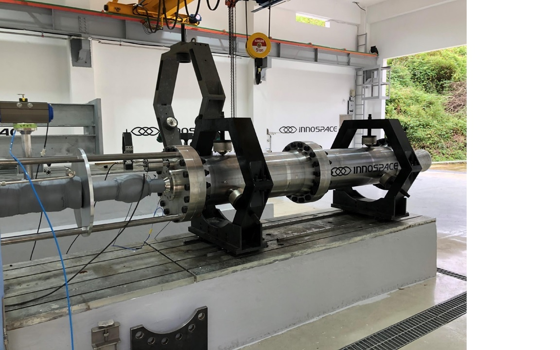 A hybrid rocket engine is being tested at rocket startup Innospace's R&D center in South Chungcheong Province. (Innospace)