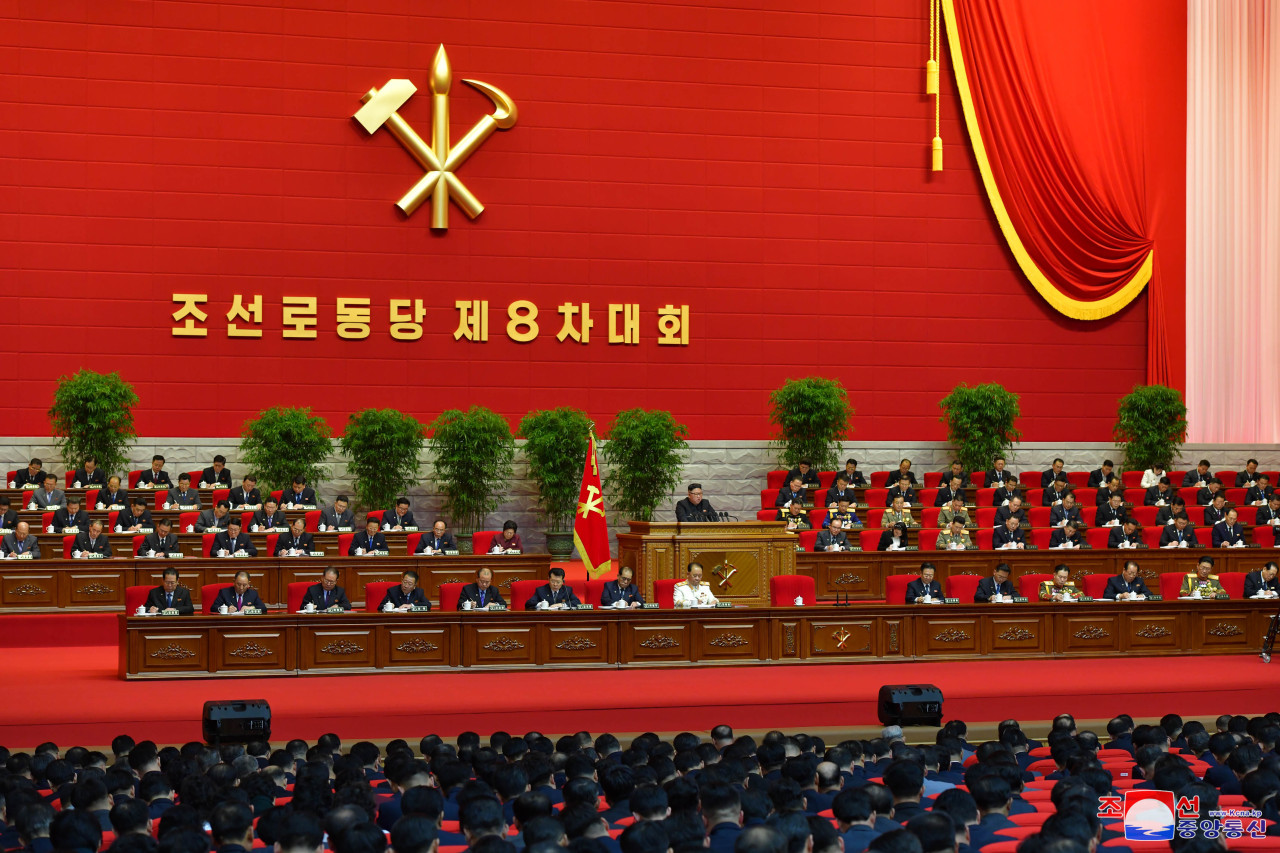 North Korean leader Kim Jong-un convenes the 8th Congress of the Workers' Party of Korea for a third day in Pyongyang, North Korea, Jan.7, 2021. (KCNA-Yonhap)