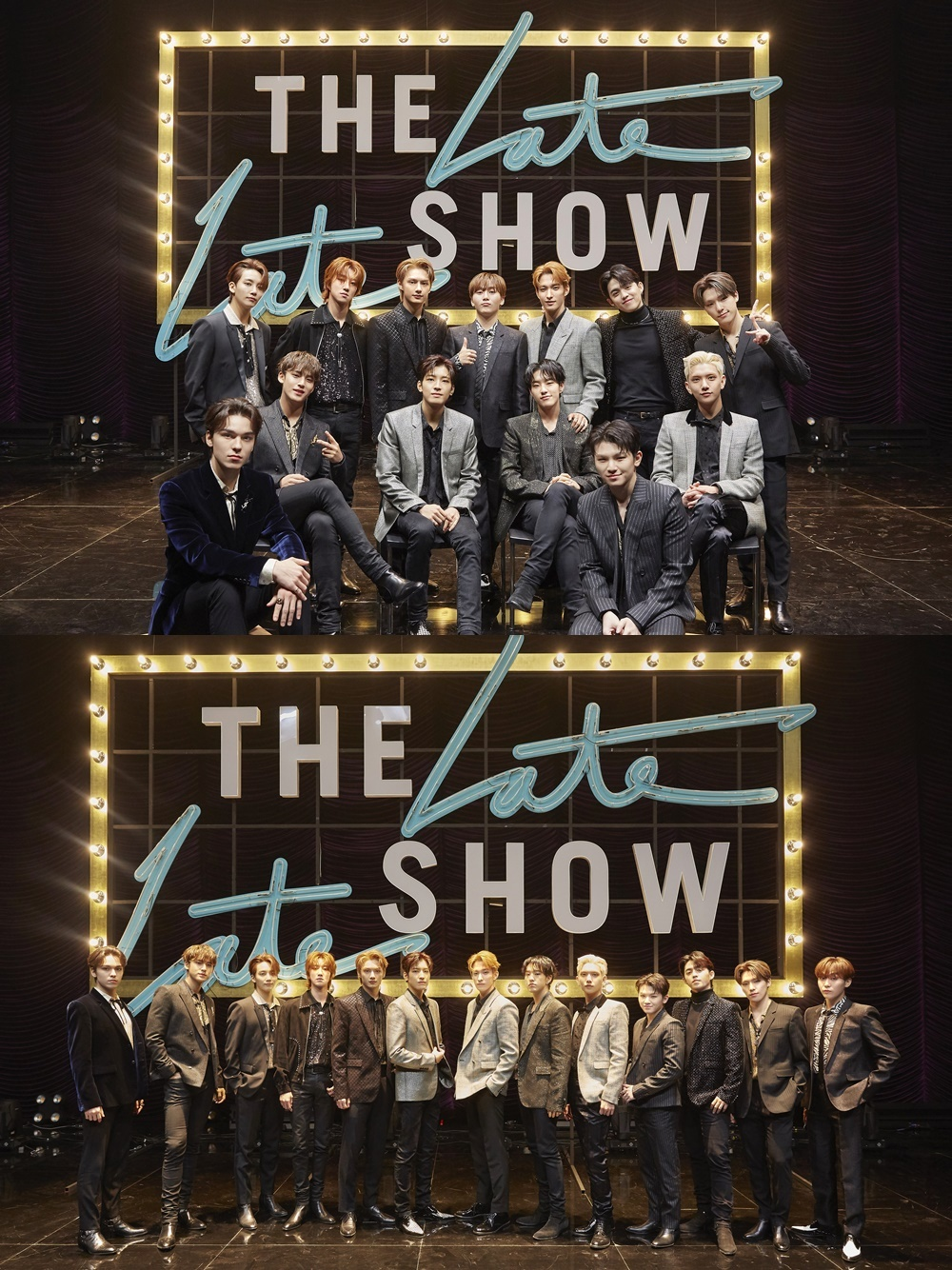 """Seventeen appears on """"The Late Late Show with James Corden"""" in Seoul on Wednesday (local time). (Yonhap)"""