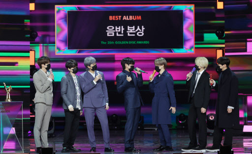 BTS wins album of the year at the 35th Golden Disc Awards on Sunday. (Yonhap)