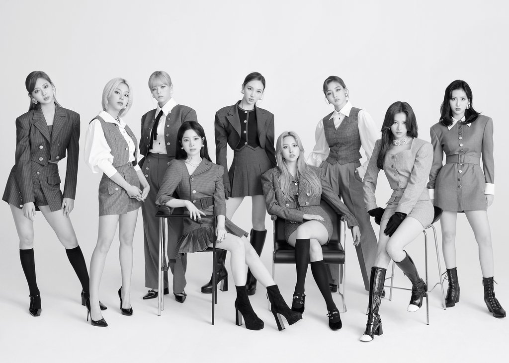 This photo, provided by JYP Entertainment on Oct. 28, 2020, shows members of K-pop girl group TWICE. (JYP Entertainment)