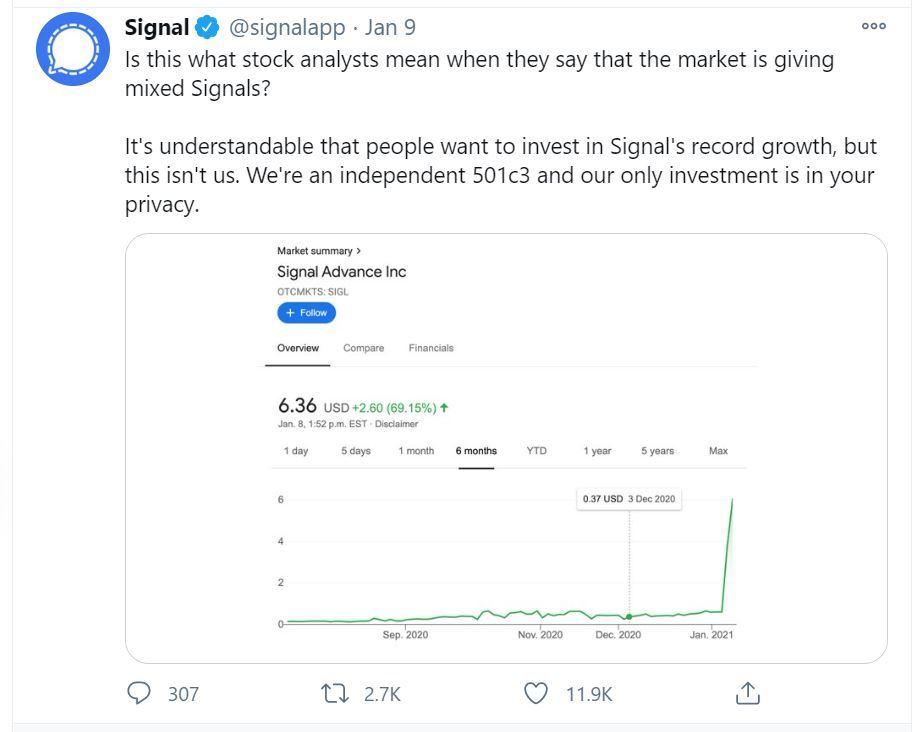 Signal Foundation's tweet on Saturday (@signalapp)