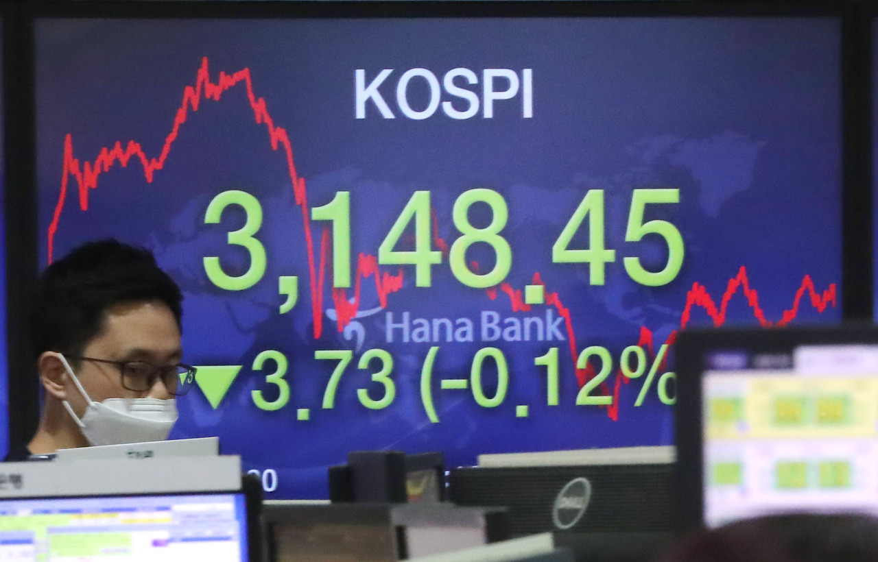 Electronic signboards at the trading room of Hana Bank in Seoul show the benchmark Kospi closed at 3,148.45 on Monday, fell 3.73 points or 0.12 percent from the previous session's close. (Yonhap)