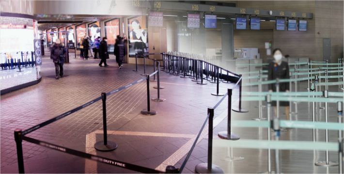 This undated file photo shows a deserted check-in counter at a local airport. (Yonhap)