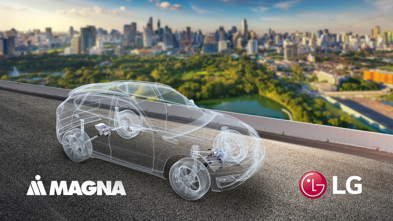 This image provided by LG Electronics Inc. on Dec. 23, 2020, shows a concept for a future vehicle using parts from LG and Magna International Inc. The two sides agreed to set up a joint venture to make auto parts including e-motors and inverters. (LG Electronics)