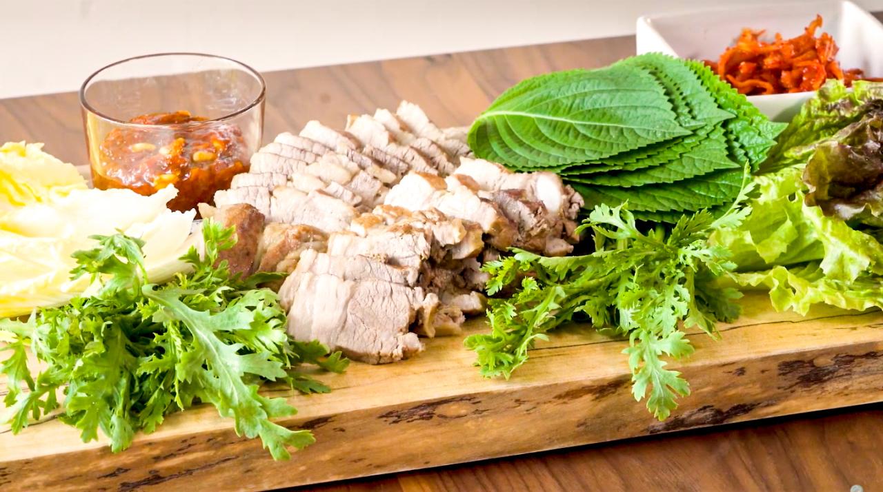 Pork belly bossam and ssamjang (Courtesy of Diana Kang)