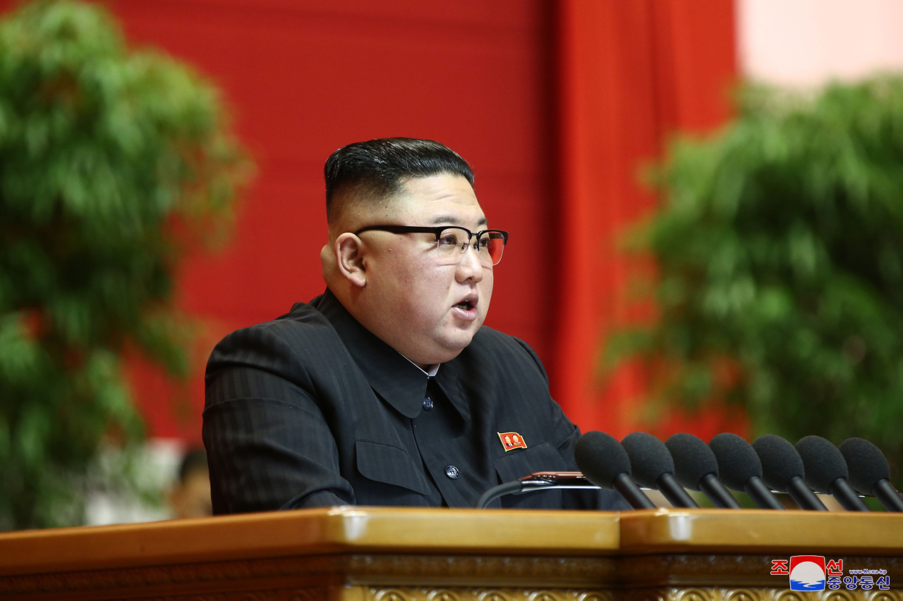North Korean leader Kim Jong-un speaks at the closing session of the 8th congress of Workers' Party in Pyongyang Tuesday, in this photo released by the Korean Central News Agency the next day. (KCNA-Yonhap)