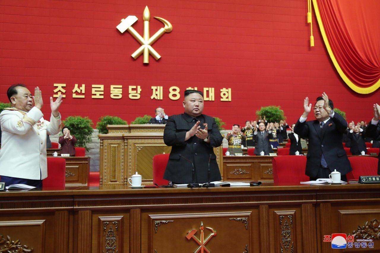North Korean leader Kim Jong-un (C) attends the sixth day of the eighth congress of the ruling Workers' Party in Pyongyang on Sunday, in this photo released by the North's official Korean Central News Agency the next day. During the congress, North Korea endorsed Kim as the party's general secretary, following its revision of party rules to reinstate the secretariat system that was scrapped in the previous party congress in 2016. (KCNA-Yonhap)