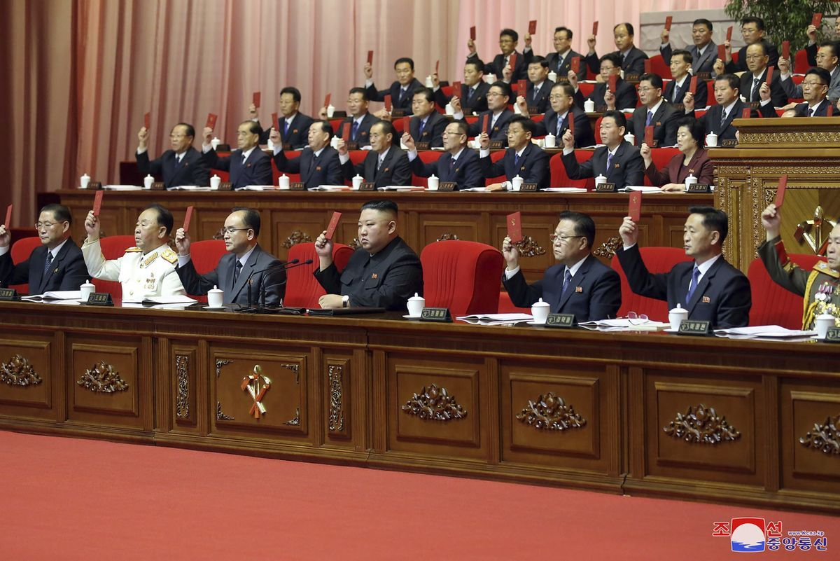 North Korean leader Kim Jong-un (C, front) attends the final day of the eighth congress of the ruling Workers' Party in Pyongyang on Tuesday, in this photo released by the North's official Korean Central News Agency the next day. In his closing remarks, Kim called for strengthening the country's nuclear capabilities. (KCNA-Yonhap)