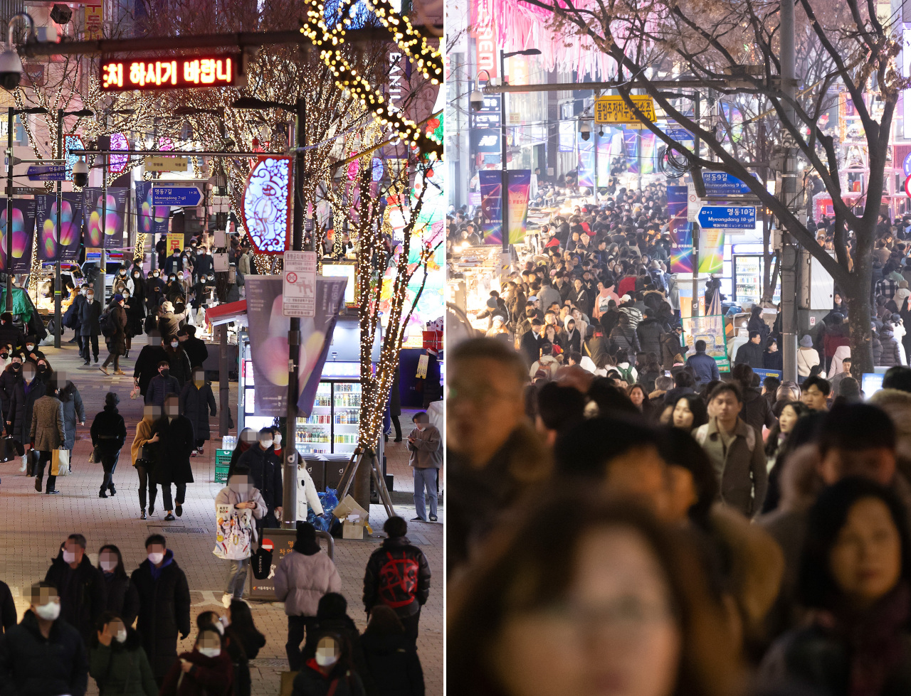 Noticeably fewer people were in Myeong-dong on Christmas Day in 2020 (left) compared to one year ago, before the coronavirus pandemic. (Yonhap)