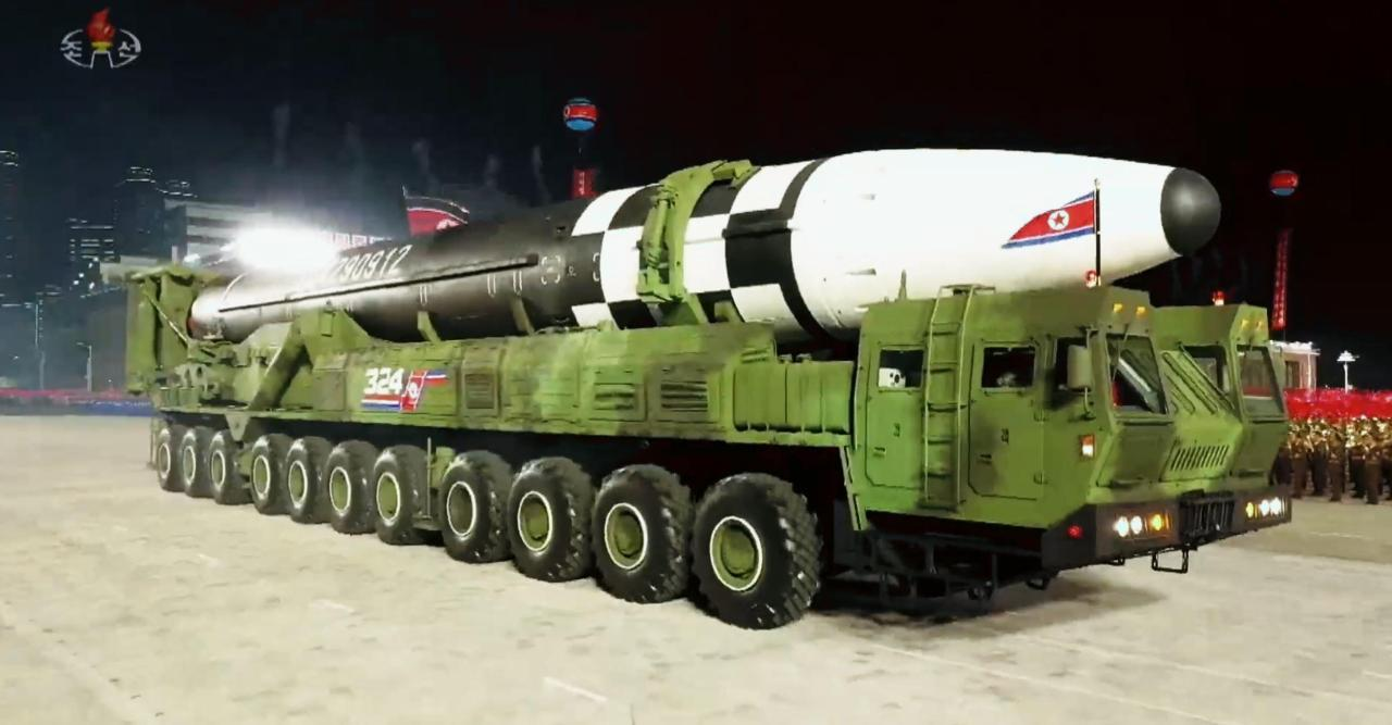 North Korea's new intercontinental ballistic missile (ICBM), which was displayed during a military parade held in Pyongyang to mark the 75th founding anniversary of the ruling Workers' Party. (KCNA-Yonhap)