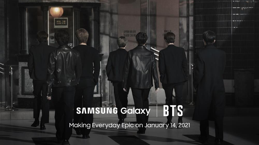 This teaser image, provided by Samsung Electronics Co. on Monday, for the company's Galaxy Unpacked 2021 event, shows K-pop group BTS. (Samsung Electronics Co.)