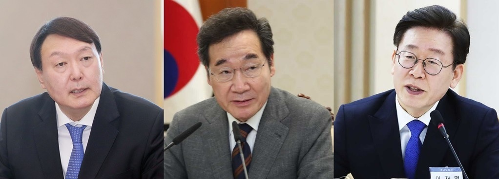 Yoon Seok-youl, Lee Nak-yon, Lee Jae-myung (from left) (Yonhap)