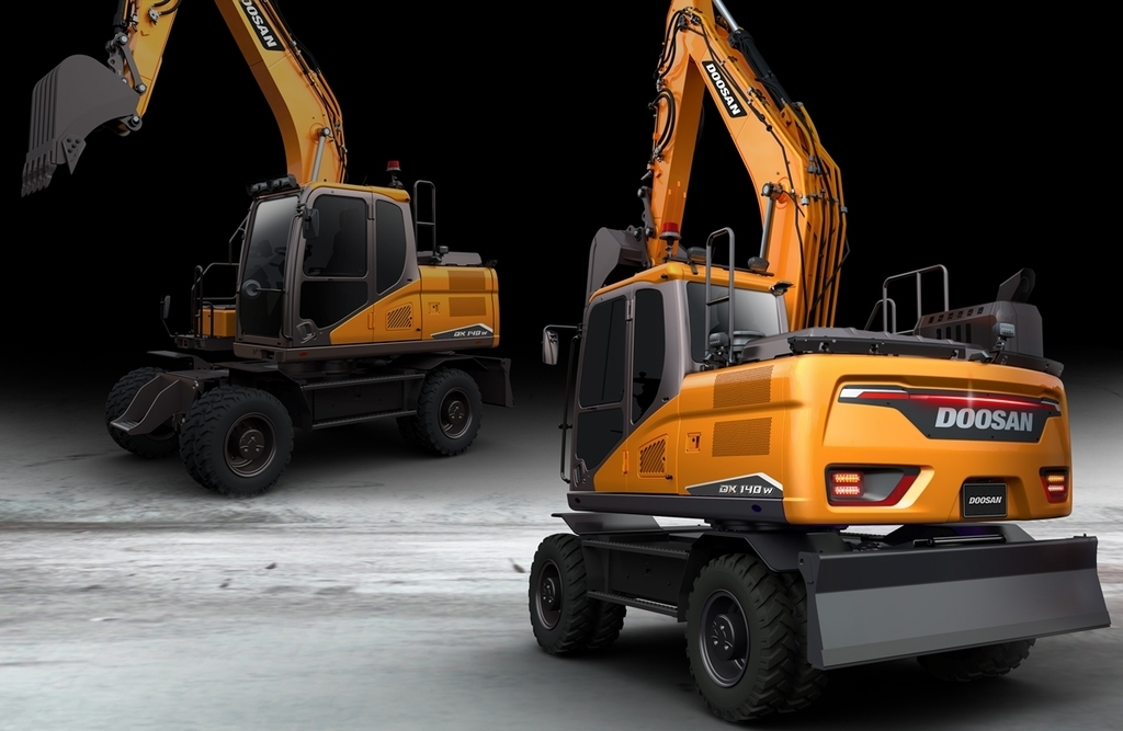 This photo, provided by Doosan Infracore Co. on Monday, shows excavators to be sold in the South Korean construction equipment market in 2021. (Doosan Infracore Co.)