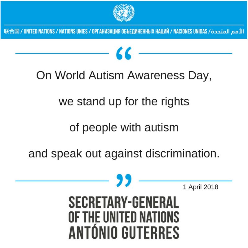 An image is posted to the UN's Facebook page in April 2018 to recognize World Autism Day. (UN's Facebook page)