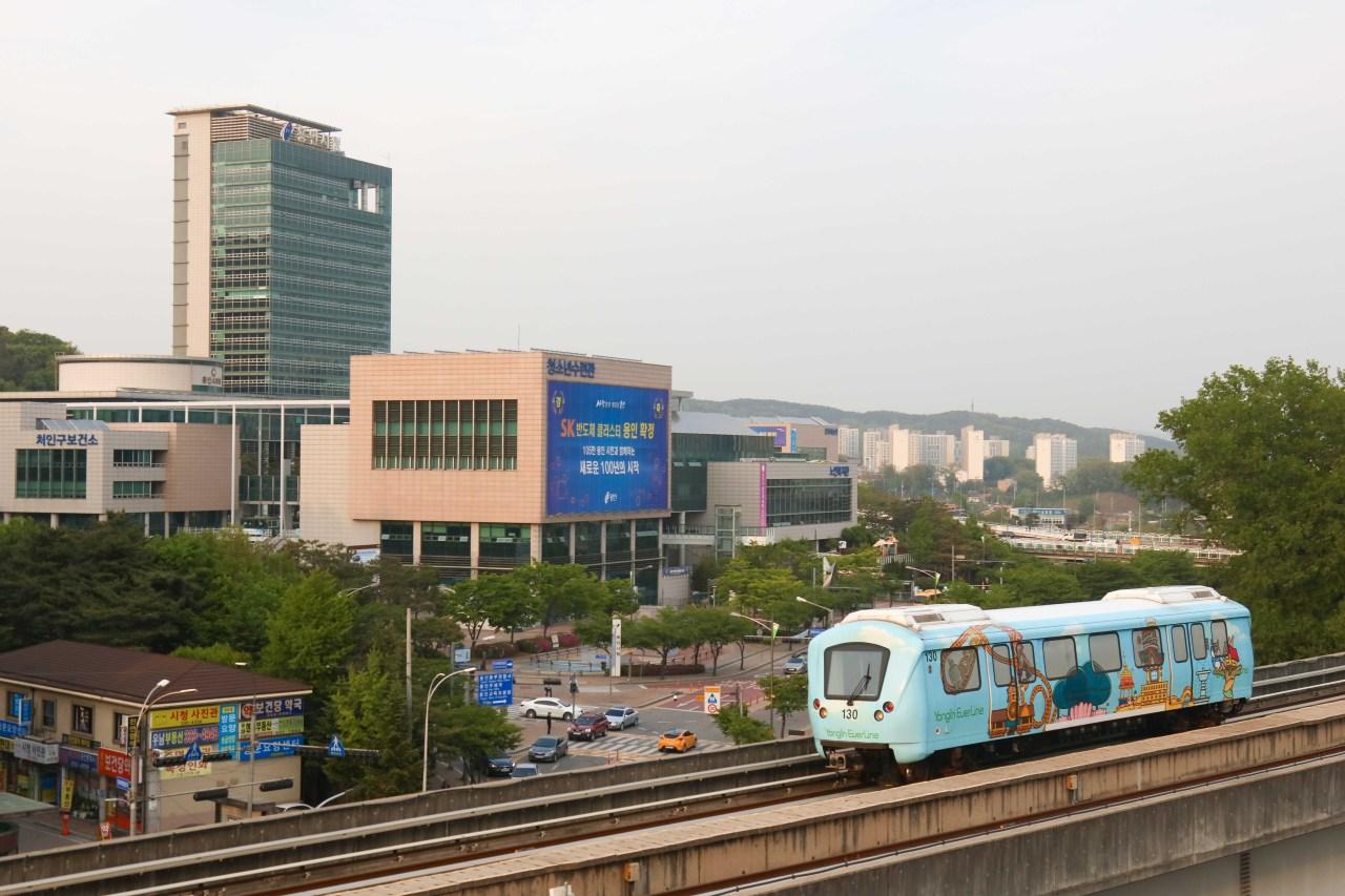A Yongin EverLine subway train passes Yongin City Hall. (Yongin City)