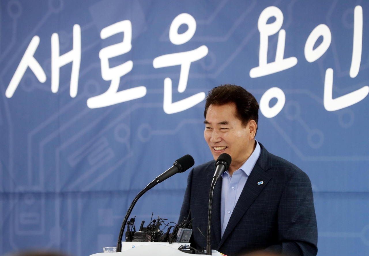 Mayor Baek Kun-ki speaks at the press conference for the first anniversary of the seventh popular election. (Yongin City)