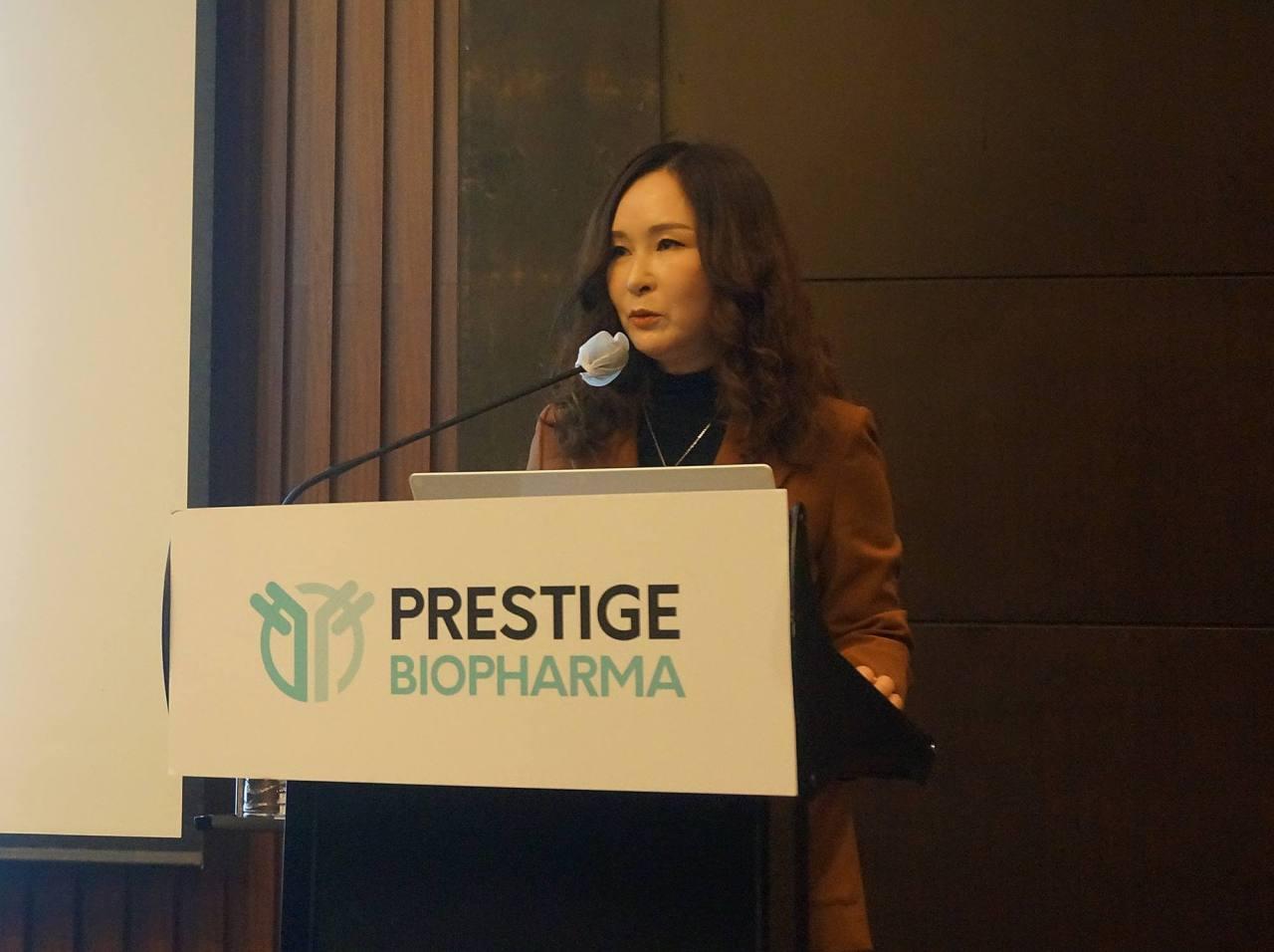 Prestige Biopharma CEO Park So-yeon speaks at a briefing held in Seoul on Monday. (Prestige Biopharma)