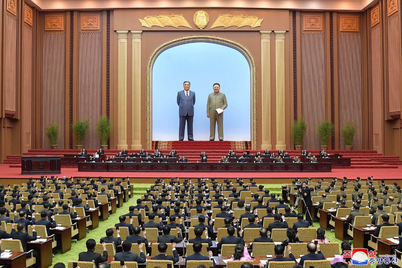 The fourth session of the 14th Supreme People`s Assembly held in Pyongyang on Sunday. (KCNA-Yonhap)
