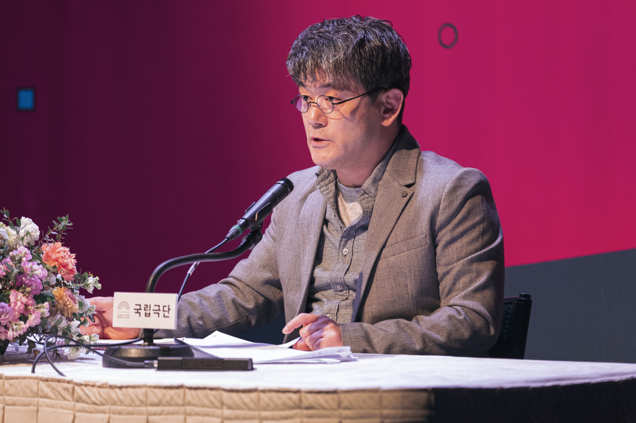 National Theater Company of Korea Artistic Director Kim Kwang-bo speaks during an online press event Monday. (NTCK)