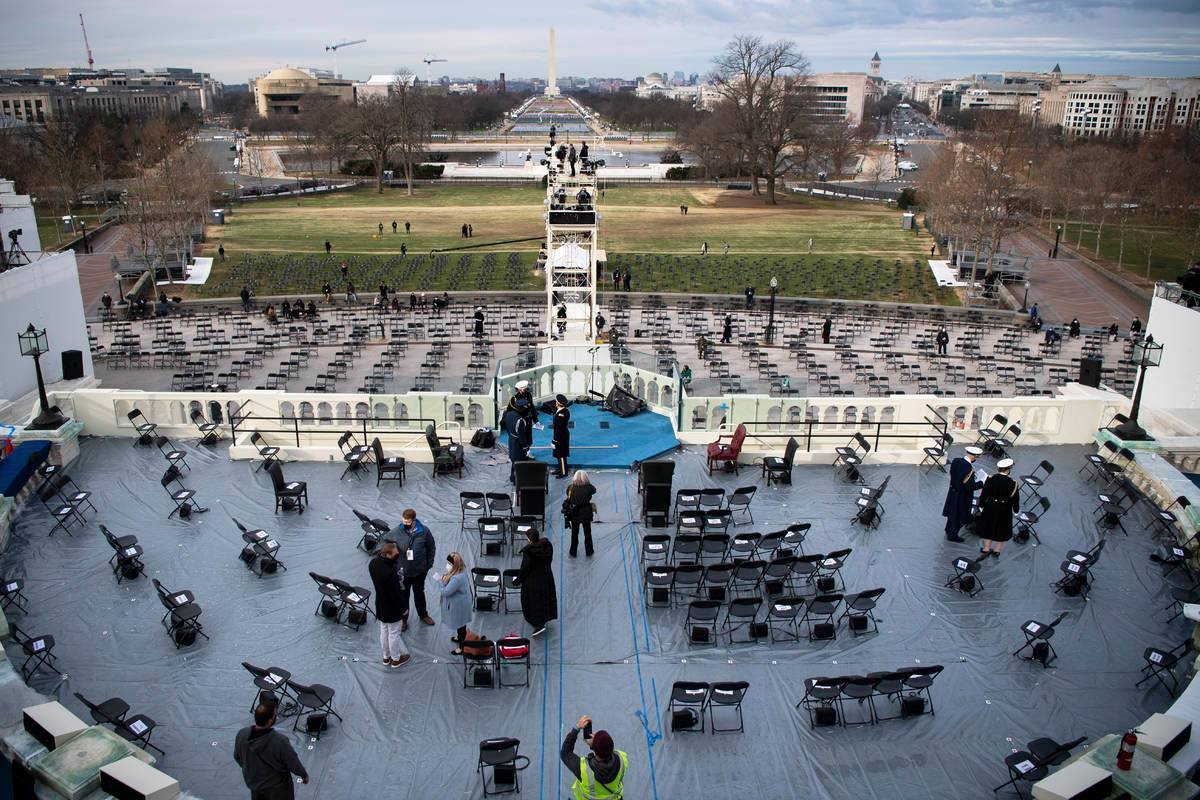 This pool photo by Reuters shows a rehearsal for US President-elect Joe Biden's presidential inauguration held at the US Capitol on Monday. (Reuters-Yonhap)