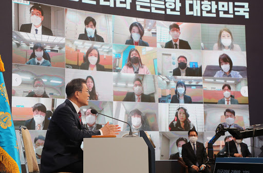 President Moon Jae-in speaks during an online press conference at Cheong Wa Dae in Seoul on Monday. (Yonhap)