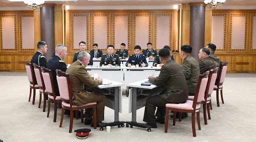 Military officials from South and North Korea and the UN Command (UNC) meet at the truce village of Panmunjom on Nov. 6, 2018, to discuss details on disarming the Joint Security Area. (Yonhap)