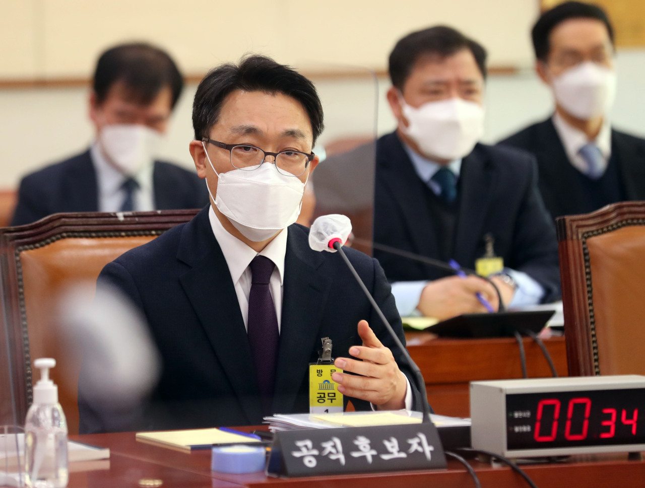 Kim Jin-wook, nominee for the inaugural chief of the Corruption Investigation Office for High-ranking Officials, speaks during his confirmation hearing Tuesday held at the National Assembly.