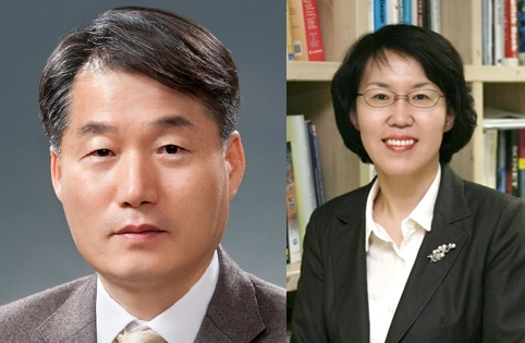 Lee Keun (L), tapped as vice chairman of the National Economic Advisory Council, and Lim Hye-sook, named to lead the National Research Council of Science & Technology in a combined photo provided by Cheong Wa Dae. (Cheong Wa Dae)