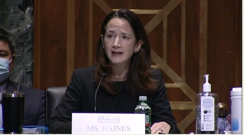 This captured image from the website of the Senate Intelligence Committee shows Director of National Intelligence-designate Avril Haines speaking at her confirmation hearing in Washington on Tuesday. (Senate Intelligence Committee)
