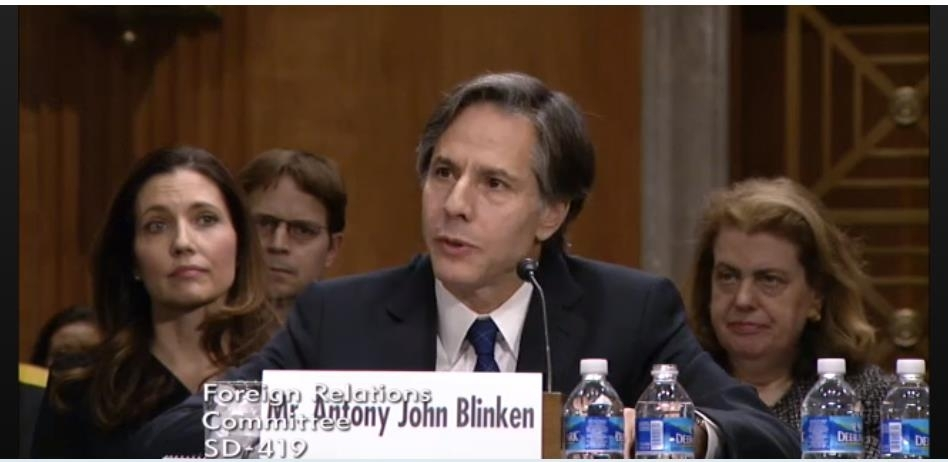The captured image from the website of the Senate Foreign Relations Committee shows US President-elect Joe Biden's pick for secretary of state, Antony Blinken, speaking during his senate confirmation hearing in Washington on Tuesday. (Senate Foreign Relations Committee)