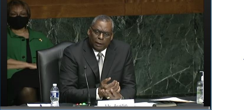The captured image from the website of the Senate Armed Services Committee shows Defense Secretary nominee Lloyd Austin speaking in his senate confirmation hearing held in Washington on Tuesday. (Senate Armed Services Committee)