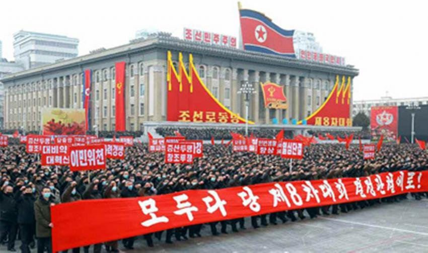 North Koreans participate in a mass rally in Pyongyang last Friday, in support of the decisions from the recently concluded eighth congress of the North's ruling Workers' Party, in this photo captured from the website of the Rodong Sinmun on Sunday. (Rodong Sinmun)