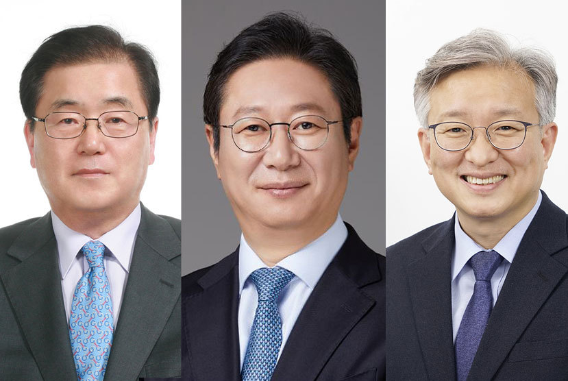 From left are Chung Eui-yong, named as foreign minister, Hwang Hee, tapped as culture minister, and Kwon Chil-seung, nominated as SMEs and startups minister, in a combination of photos provided by Cheong Wa Dae. (Cheong Wa Dae)