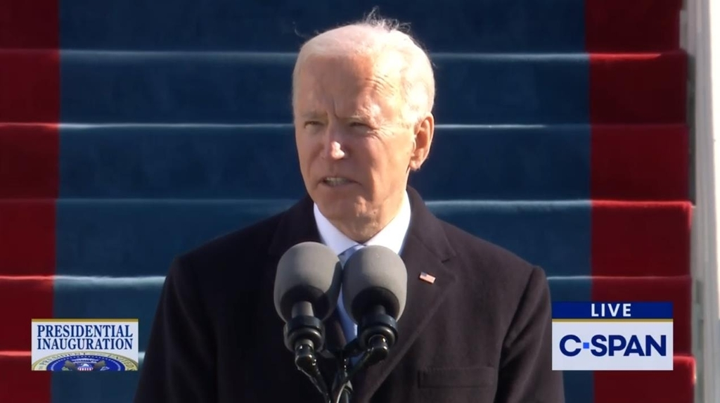 The captured image from the website of US cable news network C-Span shows US President Joe Biden delivering his inaugural address shortly after being sworn in as president at an inauguration ceremony in Washington on Wednesday. (Screenshot captured from C-Span)