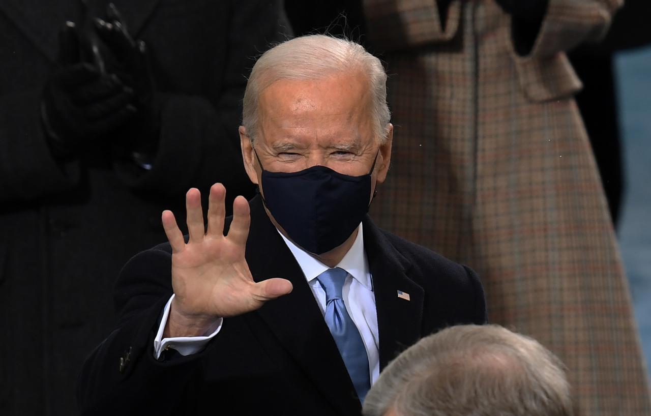 US President-elect Joe Biden arrives for his inauguration as the 46th US President on Wednesday, at the US Capitol in Washington, DC. (AFP-Yonhap)