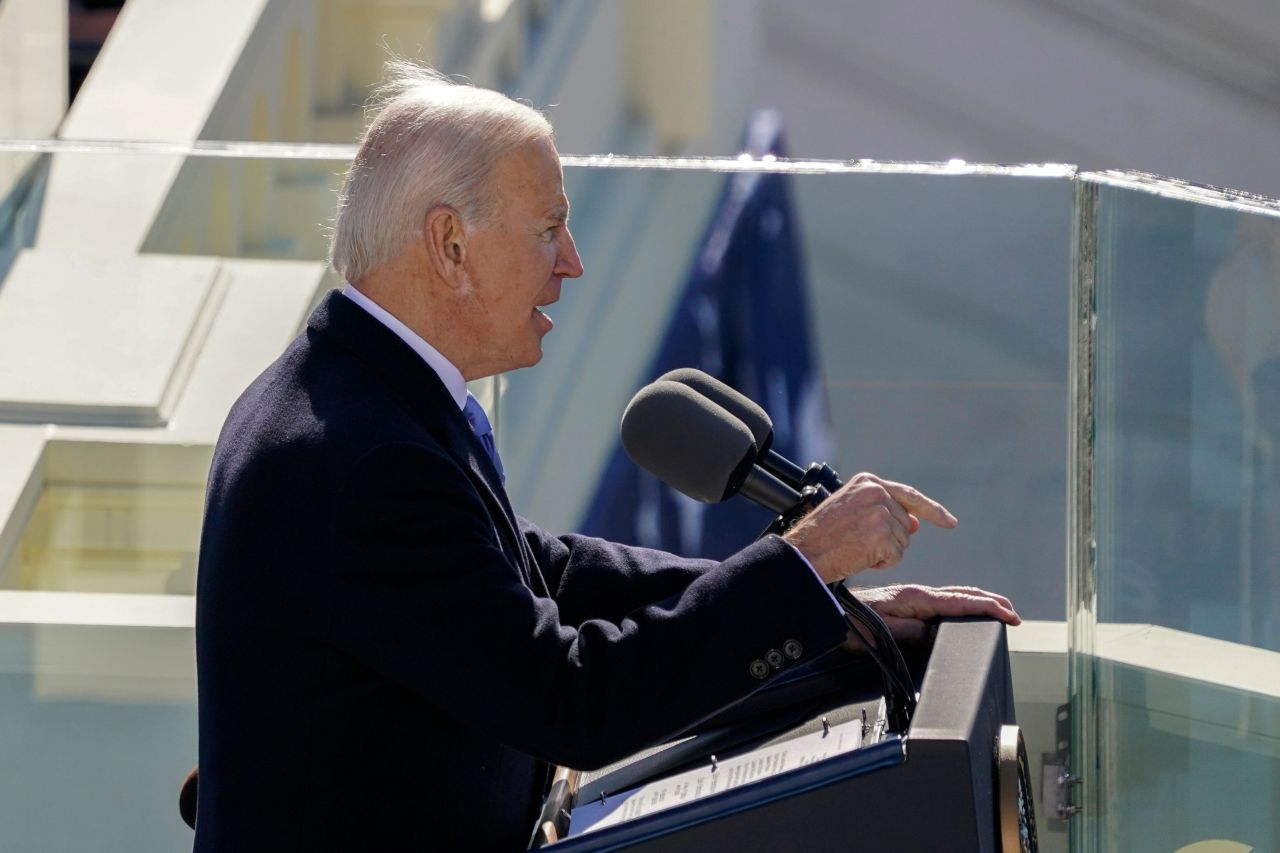 US President Joe Biden delivers his inauguration speech on Wednesday, at the US Capitol in Washington, DC. -- Biden was sworn in as the 46th president of the US. (AFP-Yonhap)