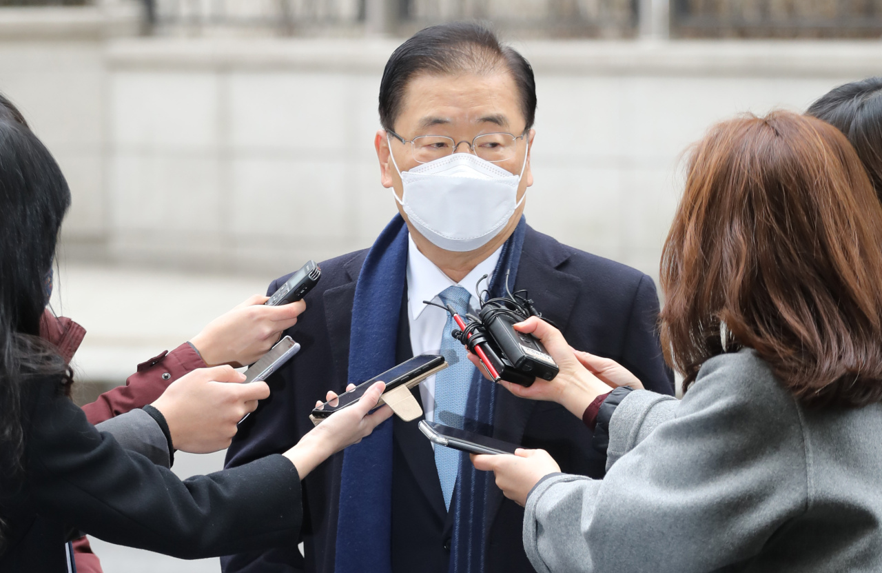 Foreign Minister nominee Chung Eui-young speaks to the press as he appears at a Seoul office to prepare for his parliamentary confirmation hearing on Thursday. (Yonhap)