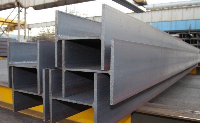 This undated file photo provided by Hyundai Steel Co. shows H-shaped structural steel beams. (Hyundai Steel)