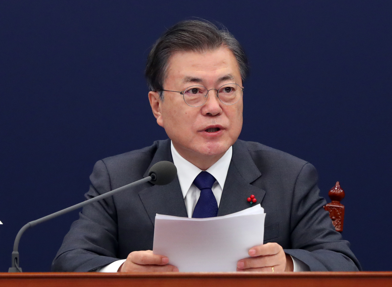 President Moon Jae-in speaks during a National Security Council meeting at Cheong Wa Dae in Seoul on Thursday. (Yonhap)