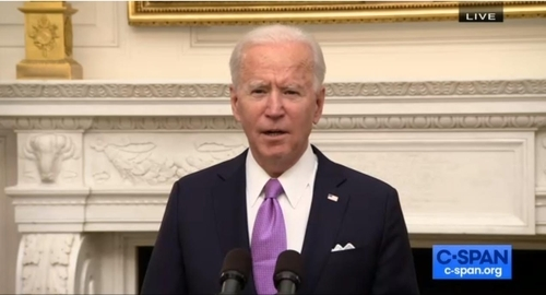 The captured image from the website of US online news network C-Span shows US President Joe Biden speaking in a press conference in Washington on Thursday to unveil his administration's strategy to counter the COVID-19 pandemic. (Screenshot captured from C-Span)