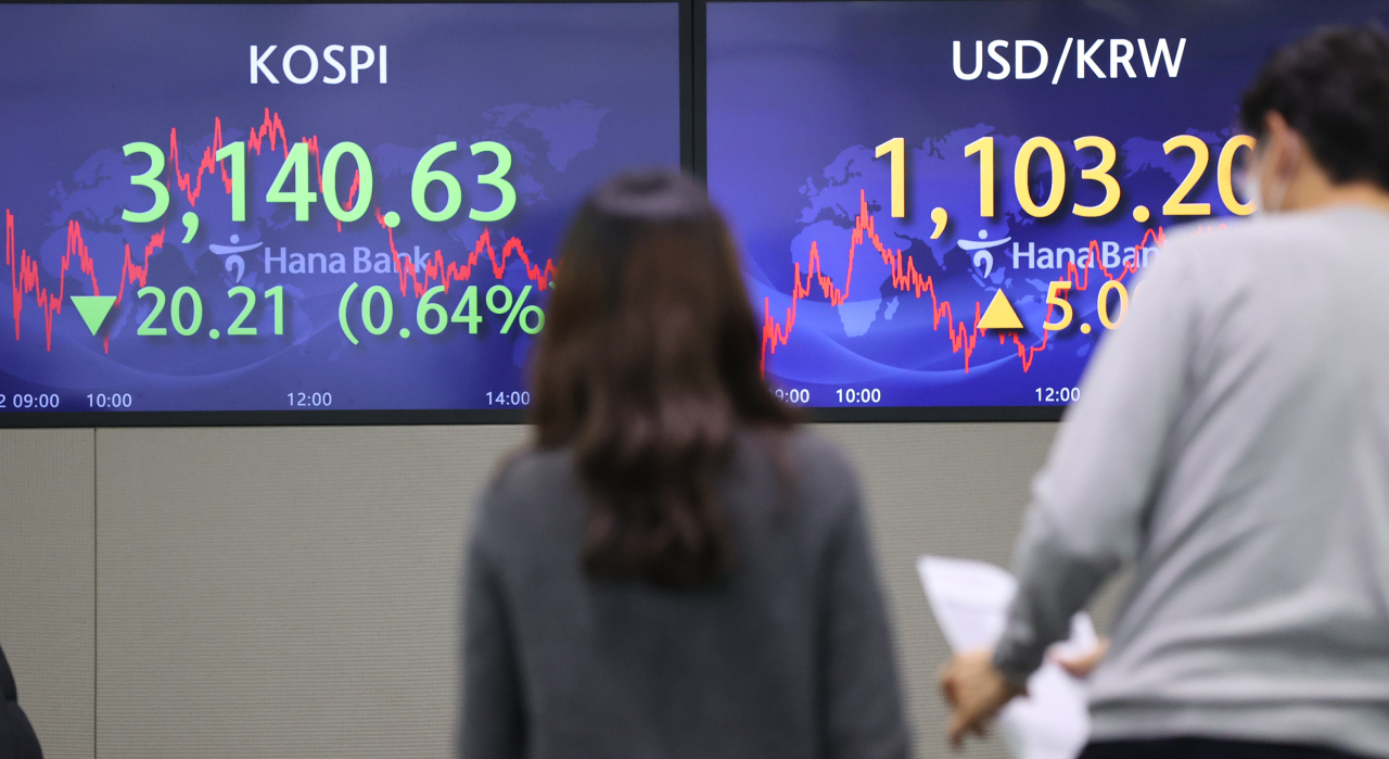 Electronic signboards at the trading room of Hana Bank in Seoul show the benchmark Kospi closed at 3,140.63 on Friday, fell 20.21 points or 0.64 percent from the previous session's close. (Yonhap)