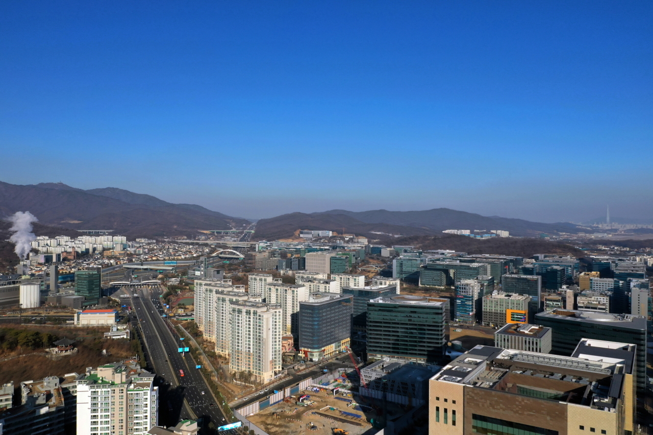An aerial view of the Pangyo Techno Valley (Seongnam City)