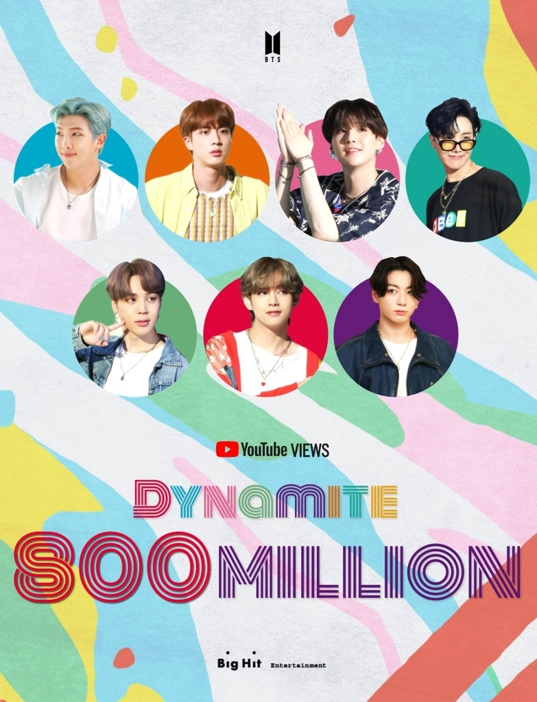This image, provided by Big Hit Entertainment on Sunday, celebrates 800 million views earned by the BTS song