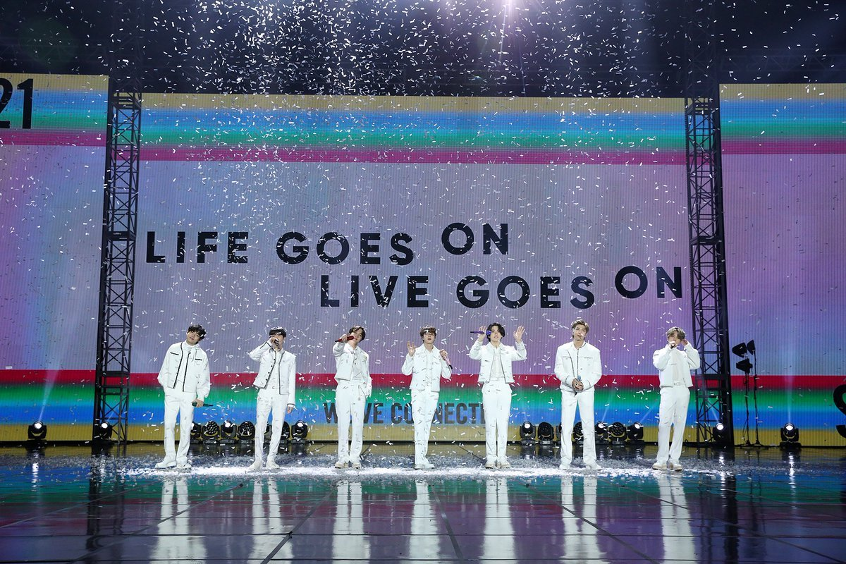This photo, provided by Big Hit Entertainment, shows BTS performing