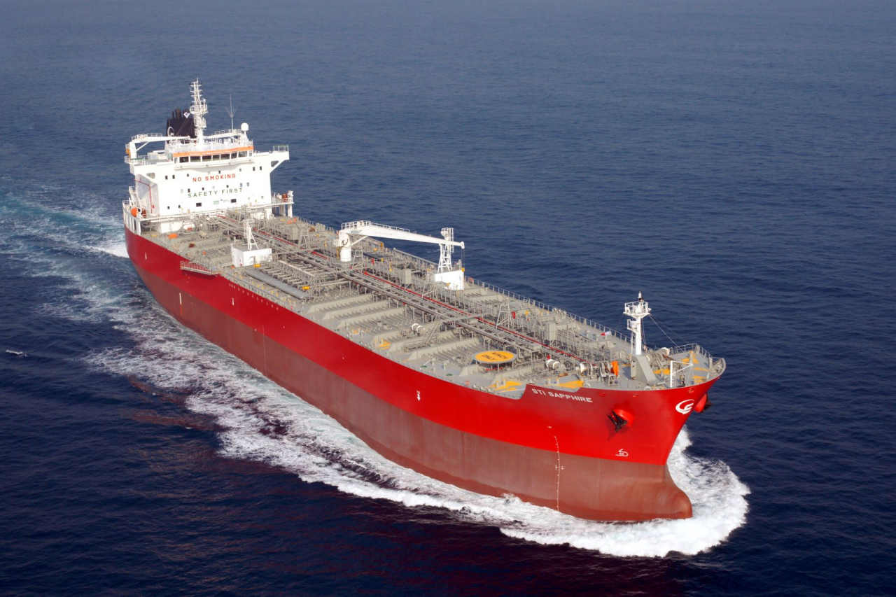 This file photo provided by Korea Shipbuilding & Offshore Engineering Co. shows a petrochemical carrier built by Hyundai Mipo Dockyard. (Korea Shipbuilding & Offshore Engineering Co.)
